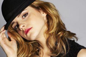 actress face emma watson looking at viewer women with hats long hair closeup women blonde