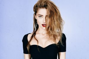 actress simple background red lipstick long hair amber heard
