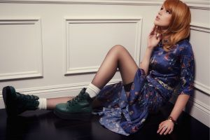 actress women socks black stockings looking up long hair sitting boots open mouth model blue dress redhead on the floor bella thorne