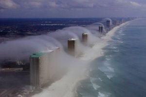aerial view landscape coast miami clouds sea