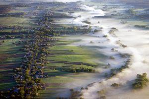 aerial view morning landscape road ukraine nature villages mist field