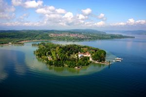 aerial view nature lake constance landscape island botanic gardens