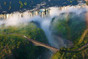 africa bridge aerial view landscape waterfall nature