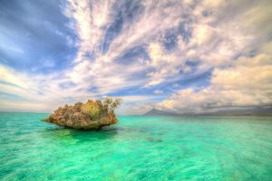 africa landscape sea rock tropical clouds summer nature water turquoise mauritius island