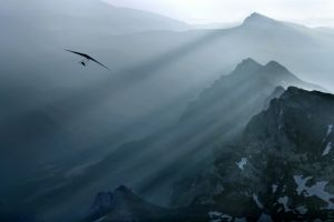 air sports sun rays landscape nature flying delta wing mountains mist