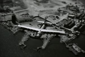 aircraft monochrome airplane tilt shift