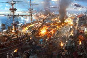 aircraft steampunk battleships battle war fantasy art artwork