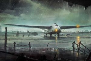 airplane rain airport aircraft