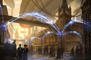 airships steampunk london artwork street city