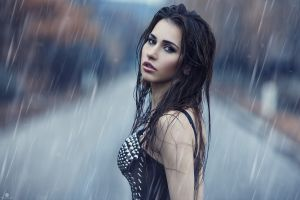 alessandro di cicco portrait wet model women outdoors rain women looking at viewer