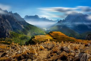 alps clouds mist mountains nature lake valley forest italy landscape
