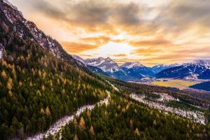 alps landscape snow mountains fall sunset nature sky austria forest clouds
