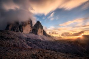 alps sky sun rays sunset italy mountains nature landscape clouds summer