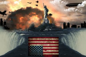 american flag explosion statue of liberty