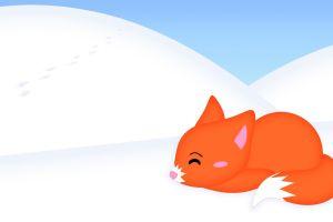 animals fox minimalism artwork