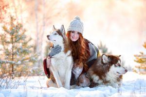 animals snow women with dogs dog women winter wool cap model redhead