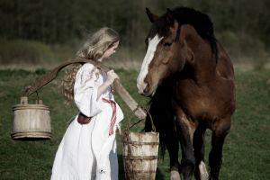 animals women outdoors women horse