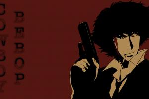 anime boys anime spike spiegel red background gun cowboy bebop