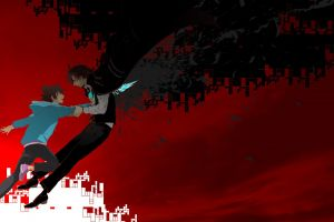 anime c: the money of soul and possibility control red background anime boys