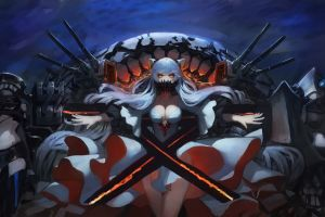 anime cleavage no bra anime girls horns midway hime white hair dress thigh-highs kantai collection