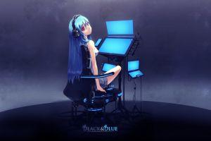 anime computer headphones blue hair technology anime girls long hair