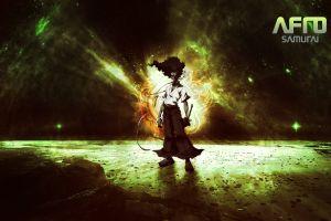 anime dark afro samurai sky