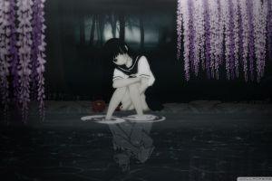 anime dark hair jigoku shoujo water reflection anime girls