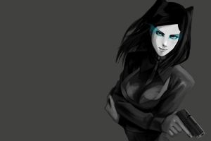 anime ergo proxy selective coloring weapon anime girls simple background gun