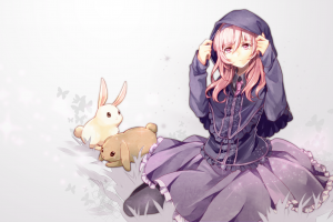 anime girls animals anime simple background rabbits hoods dress