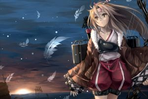 anime girls anime blonde feathers kantai collection