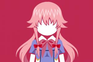 anime girls anime gasai yuno mirai nikki anime vectors minimalism yandere