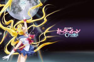 anime girls anime moon blonde miniskirt sailor moon tsukino usagi long hair arms up