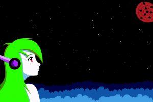 anime girls anime stars green hair cave story curly brace sharingan naruto shippuuden fan art