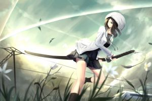 anime girls anime sword