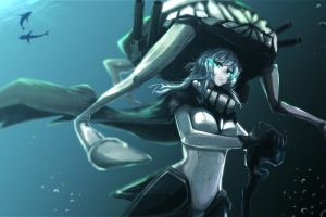 anime girls anime underwater fantasy girl green eyes shark long hair kantai collection wo-class aircraft carrier fantasy art