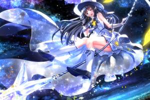 anime girls blue eyes long hair anime black hair houkago no pleiades swordsouls dress itsuki (houkago no pleiades) elbow gloves blushing hat