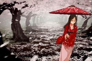 anime girls cherry blossom kimono original characters