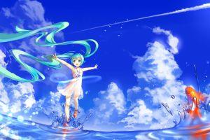 anime girls clouds fish goldfish twintails sky hatsune miku water vocaloid