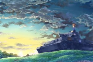 anime girls clouds sunrise sky girls und panzer