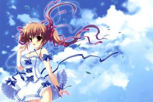 anime girls clouds white dress