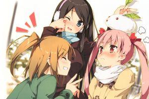 anime girls dark hair pink hair kantoku long hair