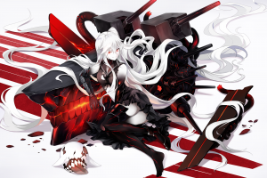 anime girls kantai collection red eyes school uniform long hair torn clothes thigh-highs heels aircraft carrier hime  white hair