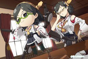 anime girls kirishima (kancolle) anime kantai collection