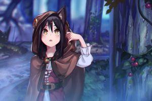 anime girls long hair dark hair original characters animal ears chromatic aberration