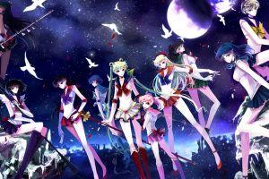 anime girls moon birds night sky sailor moon standing manga