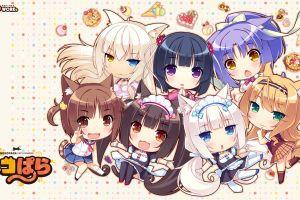anime girls neko para chocolat (neko para) maple (neko para) animal ears neko works tail long hair
