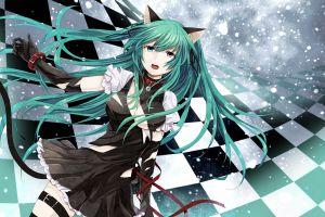 anime girls nekomimi heterochromia anime utau ripped clothes long hair