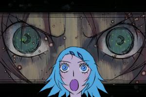 anime girls open mouth blue eyes manga blue hair