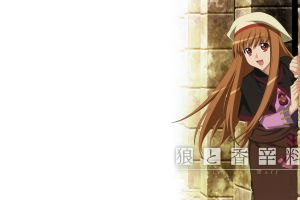 anime girls red eyes spice and wolf anime brunette simple background long hair holo hat