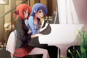 anime girls school uniform blue hair love live! sonoda umi piano long hair nishikino maki